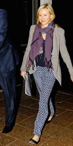 Naomi Watts in her Joie 'Jordache' silk pants
