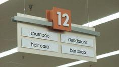 retail design, aisle sign, signage, store, dimensional