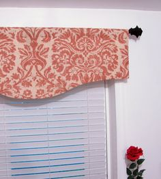 Salmon Damask Window Curtain  Valance by supplierofdreams on Etsy, $54.00