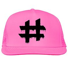 Dripping Hashtag Bright neon truckers mesh snap back hat in 6 Bright Colors