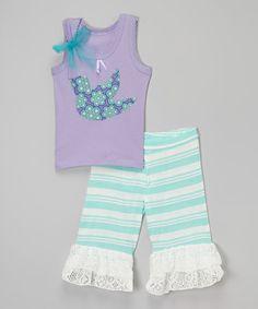 Look what I found on #zulily! Purple Bird Tank & Ruffle Shorts - Infant, Toddler & Girls #zulilyfinds