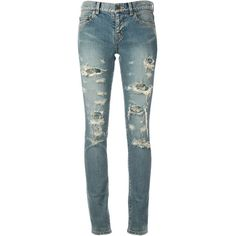 SAINT LAURENT ripped skinny jeans (£490) ❤ liked on Polyvore