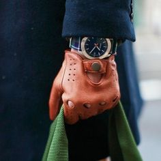watches and drivinggloves | leather driving gloves + tartan watch wrist band