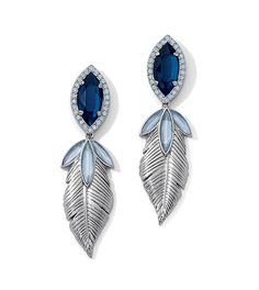 Lucata Earrings: As seen on the Red Carpet Blue Opal Cut Crystals with Montana Blue & Blue Opal Resin in Matte Silver. Lifetime Guarantee