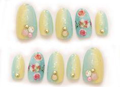 Fake nails pastel fashion Japanese nail art floral by Aya1gou, $18.00