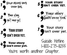 Your story isn't over yet... semicolon Temporary Tattoo's suicide awareness approx 3w x 1-1.5h by PolkaDotzPrints on Etsy