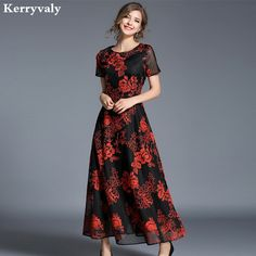 High-end Gauze Embroidery Red Long Party Dresses Women Maxi Dress Vestidos  Mujer Verano 2017 Robe Longue Elegant Dress a16890c9bbfe