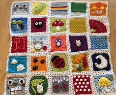 Totoro Inspired Afghan Squares Blanket.  - Free Crochet Pattern - This is made up of 30 x 5.5 inch squares with border.