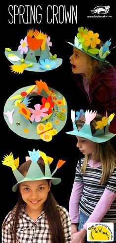DIY Spring Crown - I think these would make fun Girl Scout tea party hats. They could be make-and-takes at the tea party itself. by stacey Crown Crafts, Hat Crafts, Diy And Crafts, Projects For Kids, Diy For Kids, Crafts For Kids, Family Crafts, Kids Fun, Preschool Crafts