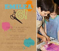 Colorful + Whimsical + Modern Art Party-The Invite