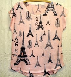 NWOT BLU PLANET Sz L Pink Gray Black Eiffel Tower Print Cap Sleeve Knit Top SZ L #BluPlanet #KnitTop #Casual