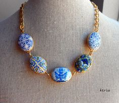 Portugal 16th and 17th Century Gold Blue Azulejo NECKLACE by Atrio