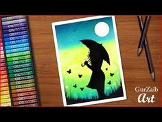 How to draw Girl with Umbrella drawing - step by step - easy - pastels colours Oil Pastel Drawings Easy, Oil Pastel Paintings, Unique Drawings, Art Drawings For Kids, Colorful Drawings, Easy Drawings, Oil Pastels, Chalk Pastels, Canvas Art Projects