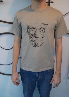 Screenprint Shirt  Skinless Human Head Skull by SamsaraPrints, $15.00