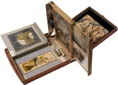 Marcel Duchamp, Box in a valise (Boîte en-valise), 1941 Leather valise containing miniature replicas and color reproductions of works by Duchamp, and one photograph with graphite, watercolor, and ink additions, 40.7 x 37.2 x 10.1 cm Peggy Guggenheim Collection, Venice © Succession Marcel Duchamp, by SIAE 2008