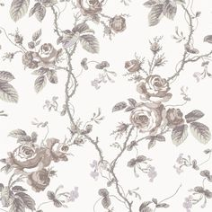 Boråstapeter French Roses 1651 Purple & Taupe wallpaper from the A Vintage Book collection, priced per roll. A romantic rose design in powdery pastels with a vintage feel based on an original French pattern from 1845 Rose Beige, Stencil Decor, French Pattern, Tumblr Backgrounds, Chevron Patterns, Print Patterns, Wall Decor Quotes, Romantic Roses, Wallpapers