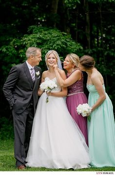Mint bridesmaids dress, purple Mother of the Bride Dress, white bouquets, a-line wedding gown, wedding portrait, beautiful family. Photo from Monica and Brandon collection by Lyn Ismael
