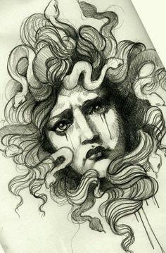 Medusa Tattoo Artwork by Alix Ge at Denis Tattoo in Versailles, France Medusa Art, Medusa Gorgon, Medusa Tattoo, Tattoo Sketches, Tattoo Drawings, Art Drawings, Icon Tattoo, Dibujos Tattoo, Desenho Tattoo
