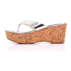a00497ece463b1 Pre-Owned Jimmy Choo 38.5 Silver Flatform Cork Sandals ( 186) ❤ liked on Polyvore  featuring shoes