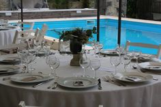 wedding reception by the pool