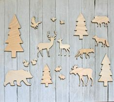 17pc Unfinished Wood Cutout Forest Animals Deer,Moose,Bear,Tree,Doe,Coyote,Bird | eBay Wood Cutouts, Business Card Size, Unfinished Wood, Forest Animals, Brown Wood, Card Sizes, Paper Mache, Moose, Deer