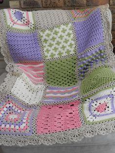Afghan from this pattern: http://www.redheart.com/free-patterns/crochet-sampler-afghan ༺✿Teresa Restegui http://www.pinterest.com/teretegui/✿༻