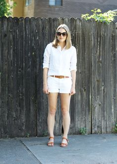 48de6a460bef White linen shirt outfit with white shorts, cognac belt, and cognac sandals  — Cotton
