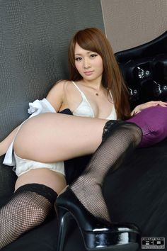 sakaue_yuriko high_resolution bed bikini black_legwear blouse cleavage fishnet_stockings miniskirt open_clothes rq-star_802 skirt swimsuit thighhighs