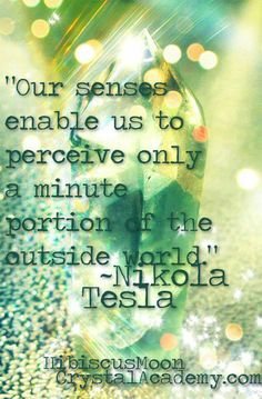 """Tesla:  """"Our senses enable us to perceive only a minute portion of the outside world.""""  ---#Nikola #Tesla."""