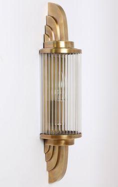 Art Déco Wandleuchte PETIO II von Art Nouveau Lamps: Wandleuchte mit Glasstäben à la Petitot: Modell 1 in Alt-Messing Art Deco Decor, Art Deco Stil, Art Deco Design, Lamp Design, Design Design, Interior Design, Design Ideas, House Design, Arte Art Deco