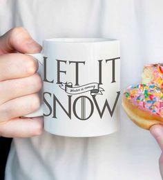 Let It Snow Winter is Coming mug Jon Snow by DesignGenesStudio