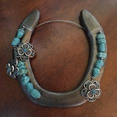 Turquoise & Silver Flower Beaded Horseshoe by WrappedNRibbons