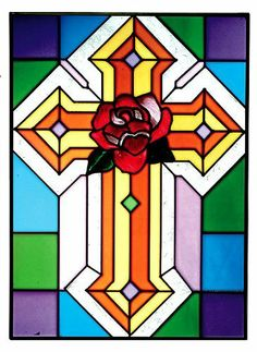 """CHRISTIAN CROSS w/Red ROSE Religious Window 10.25 x 14 Stained Glass Suncatcher by eEarthExchange. $59.95. Proudly Made in the USA, ships via UPS Ground with insurance.. **  ** SHIPS UPS - Order BY DECEMBER 13 for CHRISTMAS DELIVERY **  **. Matching and complementary stained glass windows are also offered. Comes with hooks and chain for immediate placement. 10.25"""" x 14"""" SUNCATCHER. Like no other product, art glass delivers high visual impact! The rich, vibrant look of stained ..."""