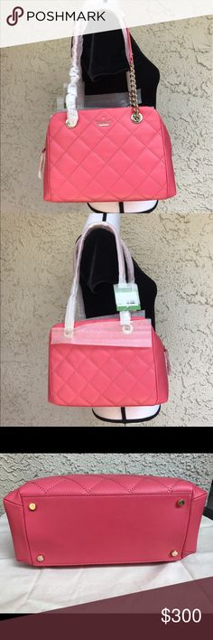 """Kate spade emerson place dewy shoulder bag tote 12""""W x 8 ¼""""H x 5""""D. (Interior capacity: medium.) 9 ½"""" strap drop.  Lush quilted leather and a clean-lined silhouette extend the uptown-chic appeal of a must-have handbag furnished with polished chain-and-leather shoulder straps. Top zip closure Chain-and-leather handles Exterior magnetic-snap pockets Interior zip, wall and smartphone pockets Protective metal feet Signature dot-jacquard lining Leather kate spade Bags Shoulder Bags"""