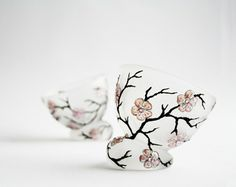 Hand Painted Glass Cup -Candle Holder - Ice Cream bowls Sakura Cherry Blossom Design Swarowski Crystals Wedding Decor set of 2