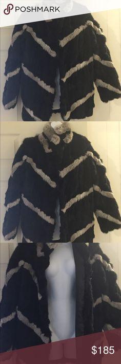Fur coat super soft and beautiful Fur coat super soft and beautiful gray and black worn once Jackets & Coats