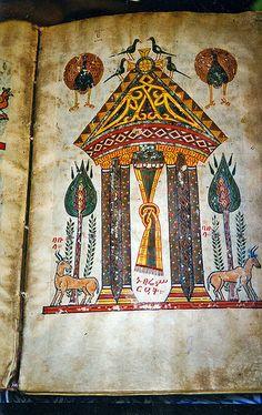 Ancient illuminated bible at island monestary, Lake Tana, Ethiopia