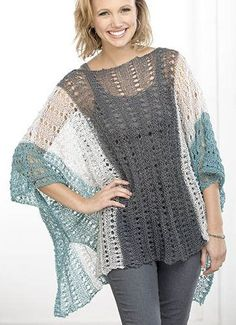 Free Knitting Pattern for Tri-color Lace Poncho - The Summer Poncho is designed by Susan Whitmore