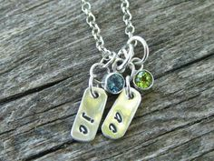 Sterling Silver Necklace with 3 Personalized Tag Charms and 3 Birthstone Charms by tinyshinyones, $96.00