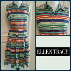 """Ellen Tracy Striped Sleeveless Dress Super cute Ellen Tracy multi-colored sleeveless shirt style dress. Comes with skinny orange belt, which is removable and with all the colors you could use any belt you like. Be cute with a cardigan or jean jacket. Wear with flats, boots, wedges, etc. Buttons up the front and the bottom is pleated. Measures approx 39"""" long. Bust 34"""" around. Waist 28"""". All measurements taken while lying flat and not stretched. EUC. Worn once or twice. Dry clean only and has…"""