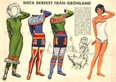 """Colorful Greenland snowsuits paper dolls, part of Swedish series of national costumes (4 of 8)   Kathleen Taylor's Dakota Dreams describes this series  thus: """"really nicely drawn & old enough to be totally politically incorrect."""""""