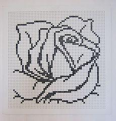 Rosebud on grid Cross Stitch Rose, Cross Stitch Flowers, Cross Stitch Charts, Cross Stitch Designs, Cross Stitch Patterns, Knitting Patterns, Crochet Patterns, Crochet Chart, Filet Crochet