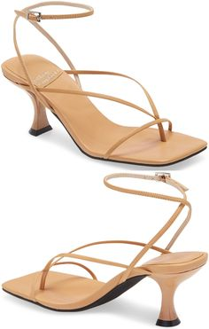 This strappy square toe sandal grounded by a flared heel is a suave and modern addition to any look. Embellished Sandals, Studded Sandals, Ankle Strap Sandals, Leather Ankle Boots, Calf Leather, Balmain Boots, Jeffrey Campbell Sandals, Hiking Fashion, Open Toe Booties