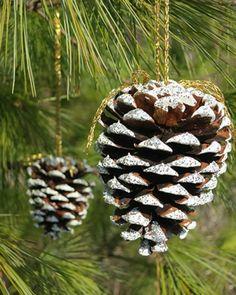 Uma maneira fácil de você decorar a sua casa com o espírito natalino é pegar pinhas, pintar com um pouco de glitter nas pontas e colocar um fio para pendurar na árvore de natal! <3 #Façavocêmesmo