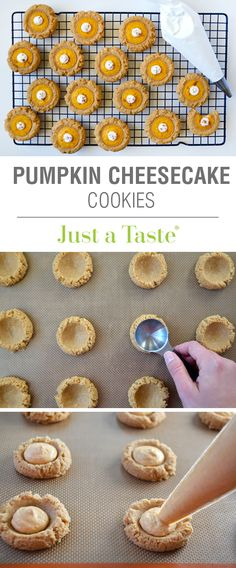 Cheesecake Cookies are a fork-free version of classic pumpkin pie, sans all the time and effort it takes to make pie crust! Köstliche Desserts, Holiday Desserts, Holiday Baking, Holiday Recipes, Delicious Desserts, Dessert Recipes, Yummy Food, Fall Recipes, Cheesecake Desserts