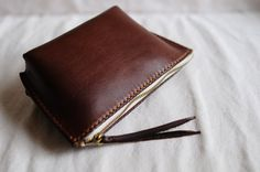 Hand Stitched Dark Brown Leather Pouch by ArtemisLeatherware