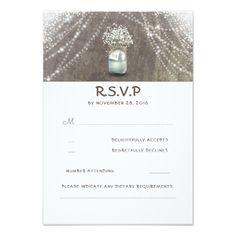 #wood - #Mason Jar Baby's Breath Rustic Wedding RSVP Cards