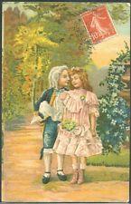 HV148 ENFANTS Gaufrée COUPLE of CHILDREN MARQUIS Embossed 1908