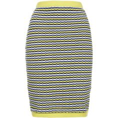 TOPSHOP Geo Textured Skirt ($26) ❤ liked on Polyvore featuring skirts, topshop, yellow, geometric skirt, geometric print skirt, cotton skirt and textured skirt