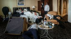 groomsmen in debauched hotel room trashing at russo hangover portrait Beacon Hill, Wedding Portraits, Wedding Bells, Groomsmen, Pony, Group, Places, Home Decor, Image